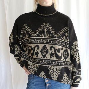 Vintage Black and Gold Turtleneck Sweater